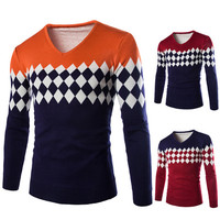Diamond Print Color Block V Neck Sweater