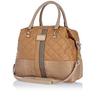 Beige quilted contrast panel bowler bag