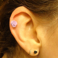 Lavender Rose Purple Flower 316L Surgical Steel Cartliage Earring Tragus Helix Piercing