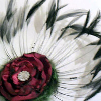Christmas inspired Steampunk Feather Flower Hair Piece