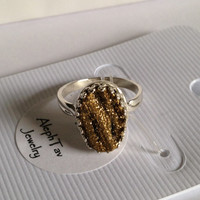 """Gold """"Crowned With Glory"""" Druzy Sterling Silver Adjustable Ring"""