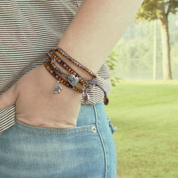 Tan and Brown macrame ARM PARTY, leather stacking bracelet, seed bead and leather boho bracelet, MTO