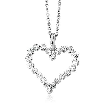 Diamond Heart Necklace in 14k White Gold, 1 Carat