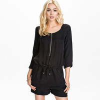 Black Long Sleeve Romper with Zipper and Waist Strap
