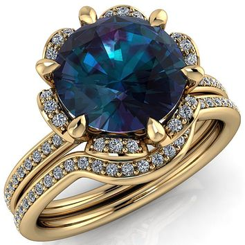 Daisy Round Lab-Created Alexandrite Floral Diamond Basket Design and Diamond Shoulders Ring