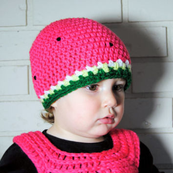 Watermelon Baby Girl Hat, Girls Knit Hat, Newborn Crochet Baby Hat, Fruit Toddler Hat, Kids Beanie, Crochet Hat, Toddler Girls Summer Hat