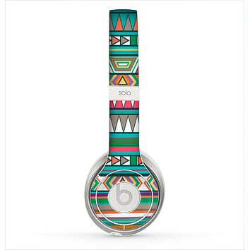 The Tribal Vector Green & Pink Abstract Pattern V3 Skin for the Beats by Dre Solo 2 Headphones