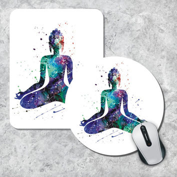Buddha Mousepad, Yoga Art Mouse Pad, Watercolor Mouse Mat, Round Mousepad, Custom Mousepad, Wooden Mousepad, Watercolor Buddha Mouse Pad