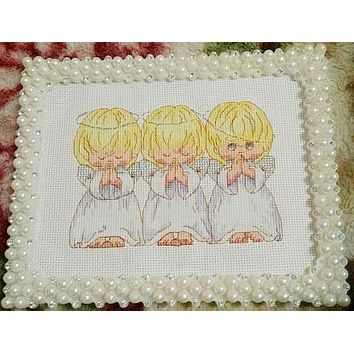 The pray little angels cross stitch package 18ct 14ct 11ct pearl white cloth cotton thread embroidery DIY handmade needlework