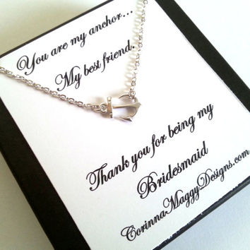 Bridesmaid gift, Sideways Anchor Necklace, Wedding Gift, Bridal Party, Strength, Best Friend, maid of honor, beach wedding, summer wedding