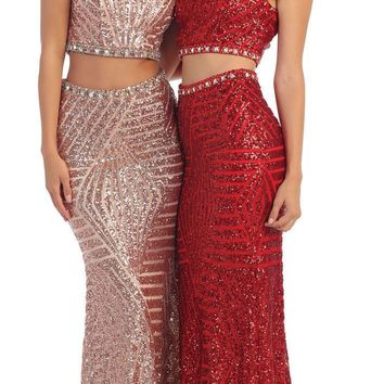 TheDressOutle Prom Long 2 Piece Set Dress Formal Evening Gown