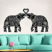 Elephant Wall Decal Stickers Floral Patterns Yoga Decals Home Decor Indie Wall Art Boho Bedding Nursery Bedroom Dorm Design Interior ZX189