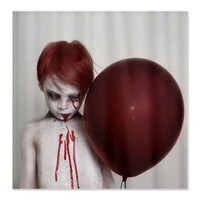 Red Ballon Shower Curtain goth macabre zombie