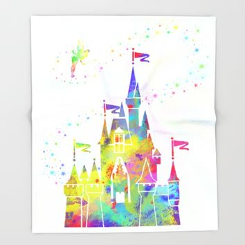 Castle of Magic Kingdom  Throw Blanket by Miss L In Art