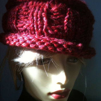 Red Knit Hat, Crochet Hat, Red Hat, Roll Brim, Women's Hat, Wool Blend, Chunky Knit, Fedora, Accessories, The Mast Hatter