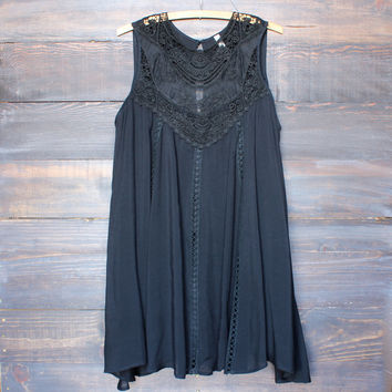 black boho crochet lace dress