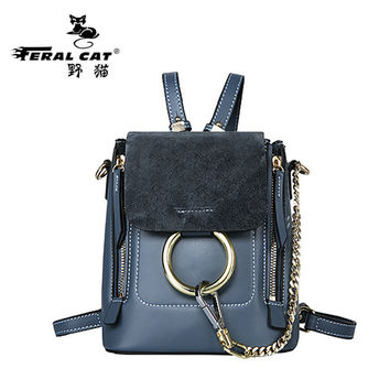 Ladies Multifunctional Genuine leather Backpack Double Zipper Chain women Crossbody Shoulder Bag Girls School small Bags