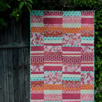 modern girl quilt, tula pink fox field, crib, nursery, bedding, modern designer blanket, pink orange aqua, baby toddler youth, ready to ship