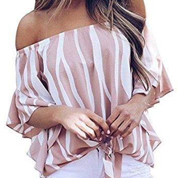 FANEW Womens Chiffon Striped Off Shoulder Bell Sleeve Front Tie Knot T Shirt Blouse Tops Tees