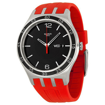 Swatch Irony Red Temptation Black Dial Red Rubber Mens Watch YTS714