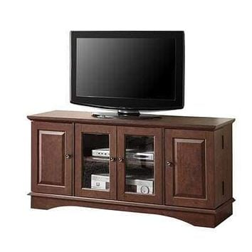 Striking Media Storage Wood TV Console Polished in Traditional Brown by Walker Edison