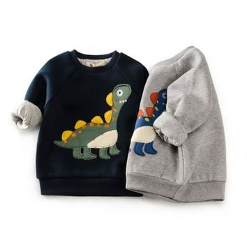 Dinosaur Patch Padded Cotton Sweatshirt
