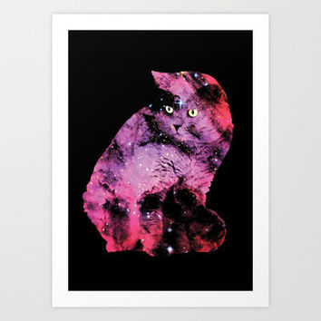 Celestial Cat - The British Shorthair & The Pelican Nebula Art Print by Zippora Lux