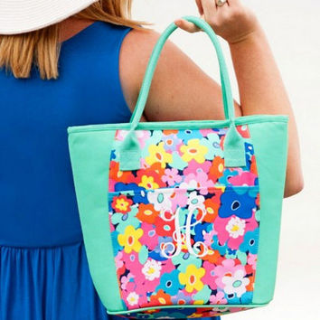 Monogrammed lunch bag, personalized lunch bag , beach cooler , vacation beach cooler bag , insulated lunch tote , poppy print, shelly print