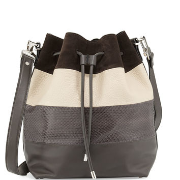 Leather & Snake Paneled Bucket Bag, Pepe/Talc - Proenza Schouler