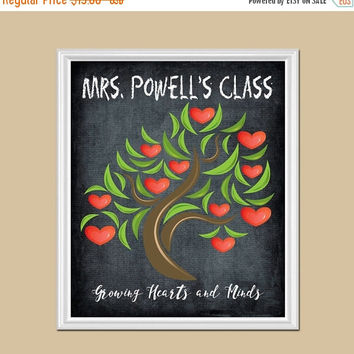 ON SALE TEACHER Chalkboard Gift, Teacher Gift, Growing Hearts and Minds, Teacher Valentine Name Print, Teacher Appreciation Gift, Canvas or
