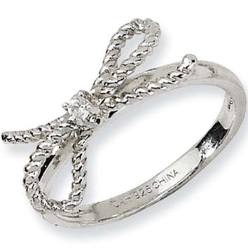 Sterling Silver Cubic Zirconia Bow Ring by Cheryl M