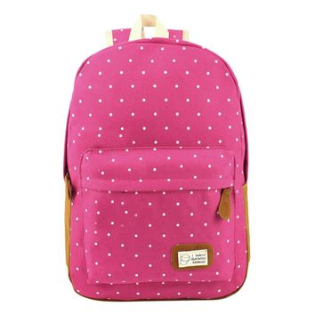 MOJOYCE Canvas Dot Printing Backpack Women School Bag Teenage Girls Cute Bookbag Vintage Laptop Backpacks Female hand bag