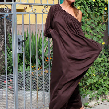 BROWN Oversized Maxi Plus size XXXL caftan dress/fall winter / day dress / party dress