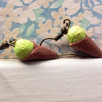 Mint ice cream cone dangly polymer clay earrings