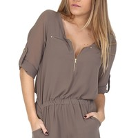Taupe Chiffon Romper at Blush Boutique Miami - ShopBlush.com