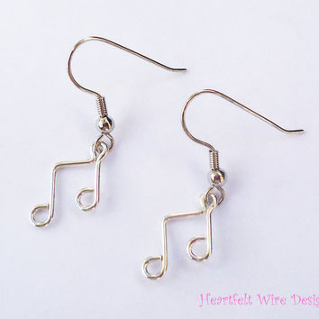 Music Note Earrings Silver Filled Beamed by heartfeltwiredesigns