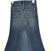 Girls long denim skirt upcycled from jeans, Custom order  to your size and length, Toddler to Preteen