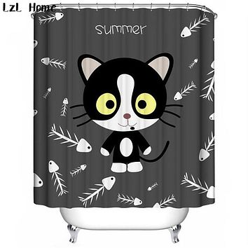 Cat Shower Curtains Durable Polyester, Eco-Friendly, Waterproof & Mold Proof