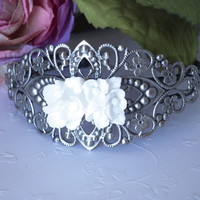 Antiqued Silver Cuff Filigree Bracelet White Resin Flower Cabochon