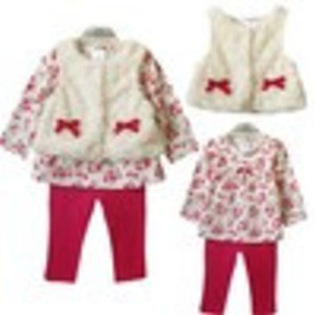 Retail 2014 new style baby girl's set spring autumn winter clothing set tops+pans+vest kids clothes sets baby girl clothes - Default
