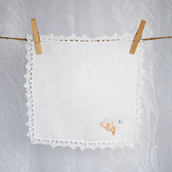 Vintage Bridal Lace Handkerchief with Butterfly Print and White Scalloped Crocheted Edge Ladies Wedding Hankie White Cotton