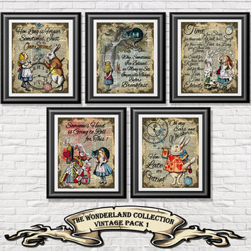 Alice in Wonderland poster prints, 5 vintage Alice art printed onto old dictionary book pages. Mixed media pack 1 wall decor shabby chic