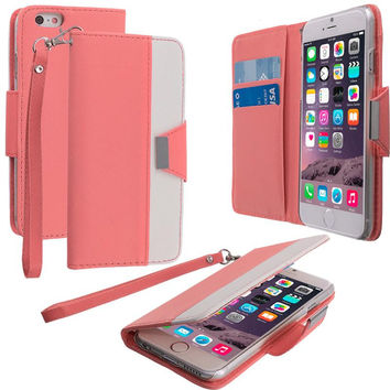Light Pink Wallet Magnetic Metal Flap Case Cover With Card Slots for Apple iPhone 6 Plus 6S Plus (5.5)