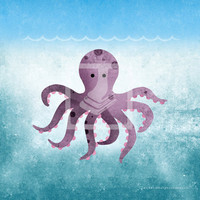 Underwater Purple Octopus 8x8 Room Wall Art Print by Caramel Expressions