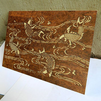 Koi fishes swimming in a pond Japanese style wooden pyrography art plaque wall decor