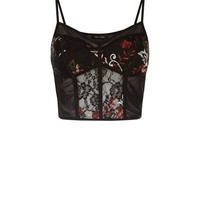 Black Floral Embroidered Mesh and Lace Bralet | New Look