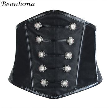 Steampunk Corset Sexy Gothic Women Push Up Bra Underbust Waist Cincher Corsage Faux Leather Sexy Lingerie Bras Bodice