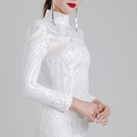 High-necked long-sleeved sequin Dress