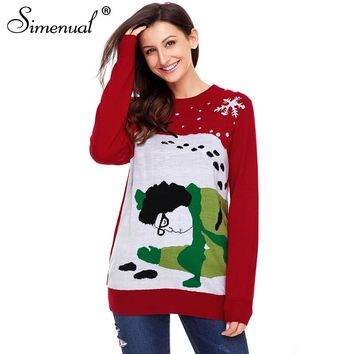 Simenual Fashion 2018 ugly christmas sweater funny women jumper long sleeve winter red sweaters and pullovers knit pull femme