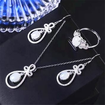 925 silver inlaid natural Hetian jade white jade pendant necklace earrings set ring ring earrings three piece